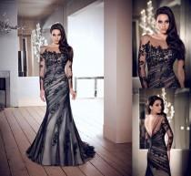 wedding photo - Sexy Black Lace Jewel Individuelle Hochzeits-Kleid Langarm-Nixe-Abschlussball-Abend-Kleid