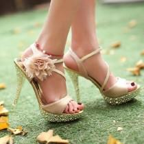 wedding photo - Glitter Lace Flowers Party Queen Strappy High Heels Wedding Shoes US7/EU38