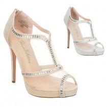 wedding photo - Wedding Bridesmaid Mesh High Heel Ankle Shootie Pumps Crystal ETERNITY-71