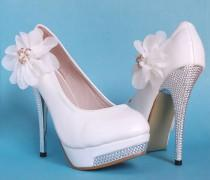 wedding photo - White Party Queen Glitter High Heel Platform Lace Flower Women Wedding Shoes
