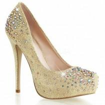 "wedding photo - PLEASER DEST06R/NUGFA Rhinestone Gem Nude 5"" High Heels Hidden Platform Pumps"