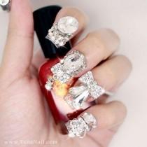 wedding photo - Японские 3D Ногтей, Нажмите На Ногти, накладные Ногти - Серебро, горный Хрусталь, И Металл, Ленты, Украшения (T120N)