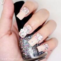 wedding photo - Японские 3D Ногтей, Нажмите На Ногти, накладные Ногти - Белый Цветочек Стразы С обнаженной Цвет польской (T108K)