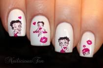 wedding photo - Betty Boop Nail Wraps Art Water Transfer Decal 20pcs So Beautiful ST8083