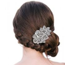 wedding photo - Шикарные Свадебные Листьев Tear Drop Расчесывать Волосы Тиара Ясно, Горного Хрусталя