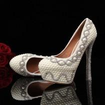 wedding photo - Ivory/white Pearl Rhinestone Diamante Bridal Prom Party Shoes Multiple Choices