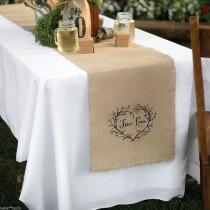 wedding photo - True Love Rustic Vine Heart Burlap Wedding Table Runner Decor Decoration