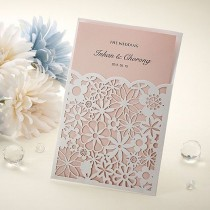 wedding photo - 100Set Laser Cutting Wedding Invitations Cards Envelopes Seals /LB8002P