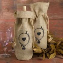 wedding photo - Hortense Burlap Globe Heart Wine Bag Wedding Table Decor Set Of 2