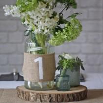 wedding photo - Hessian Wedding Table Numbers Set Of 12