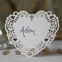 wedding photo - 10 X White Card Lace Heart Name Cards