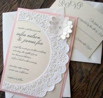 wedding photo - Vintage Shabby Chic Lace Doily Wedding Invitation