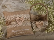 wedding photo - Flower Girl  Natural Birch Bark Basket &  Burlap Ring Bearer Pillow Set, Shabby Chic Burlap Rustic Basket , Embroidery Names - New