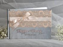 wedding photo - Wedding Guestbook, Grey And Peach Wedding Guest Book, Peach Lace Guestbook, Custom Guestbook, Vintage Guestbook