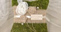 wedding photo - Moss Rustic Wedding Pillow, Burlap Ring Bearer Pillow , Burlap Ring Pillow ,Moss Ring Pillow, Shabby Chic Ring Berarer