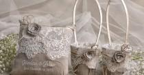 wedding photo - Flower Girl Basket & Ring Bearer Pillow Set, Shabby Chic Natural Linen Burlap , Embriodery Names
