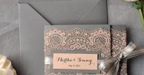 wedding photo - Custom Listing (100) Peach Wedding Invitations, Lace Grey And Peach Invitation, Vintage Wedding Invitations