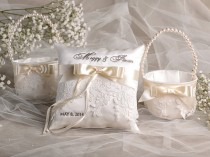 wedding photo - Flower Girl Basket & Ring Bearer Pillow Set, Bowl and Lace, Embriodery Names - New