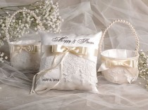 wedding photo - Flower Girl Basket & Ring Bearer Pillow Set, Bowl And Lace, Embriodery Names
