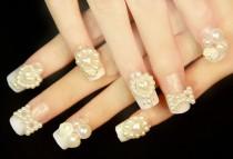 wedding photo - 3D nail sticker,pearl bride nail art,nail deco,christmas nail sticker - New
