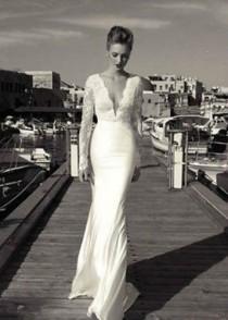 wedding photo - 2015 Lace White/ivory Mermaid Wedding Bridal Dress Custom Size 6 8 10 12 14 16