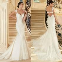 wedding photo - 2015 Sexy Backless Lace Bridal Gown Wedding Dress Custom Size 4 6 8 10 12 14 16
