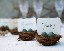 wedding photo - Wedding Place Cards, 3, Nest Woodland Rustic Robin Egg Blue Rustic Fairytale Classic Shabby Chic Country Theme Baby Shower, Bird Theme - New