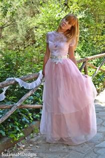 wedding photo - Pink Lace Wedding Dress / Bridal Wedding Gown - Handmade by SuzannaM Designs - New