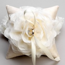 wedding photo - Wedding ring pillow - ivory flower bridal ring bearer pillow - Laurel - New