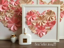 wedding photo - Modern Guest Book - 3d Heart Guest Book - Pink Guest Book by MIO GALLERY - New