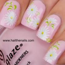 wedding photo - White Daisy Nail Art Water Transfer Decal 085G Summer Wedding Nails - New