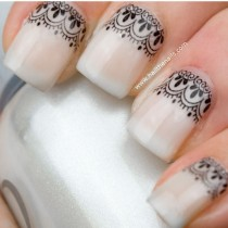 wedding photo - Black Lace  Nail Art Water Transfer Decal YD10 - New