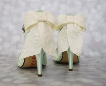 wedding photo - Wedding Shoes -- Mint Peep Toe Wedding Shoes with Ivory Lace Overlay Bow and Pearl Covered Ankle Strap - New