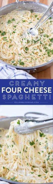 wedding photo - Creamy, Four-Cheese & Garlic Spaghetti