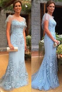 wedding photo - 2017 Sweep-Train Cap-Sleeves Appliques Sheath Mother of the Bride Dress