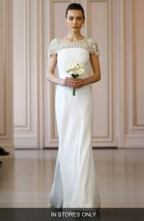 wedding photo - Oscar de la Renta Embellished Illusion Neck Crepe Satin Column Gown (In Stores Only)