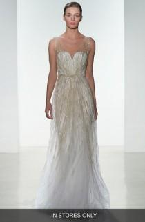 wedding photo - Amsale 'Talia' Hand Beaded Low V-Neck Gown (In Stores Only)