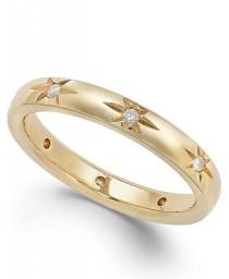 wedding photo - Marchesa Star by Marchesa Diamond Star Wedding Band in 18k Gold (1/8 ct. t.w.)