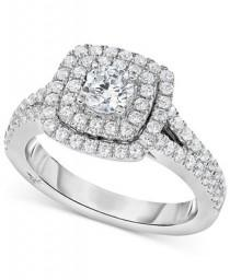 wedding photo - Marchesa Marchesa Certified Diamond Square Halo Engagement Ring (1-1/4 ct. t.w.) in 18k White Gold