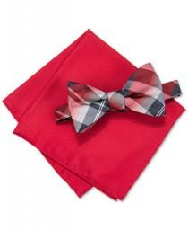 wedding photo - Alfani Alfani Men's Hudson Plaid Pre-Tied Bow Tie & Pocket Square Set, Only at Macy's