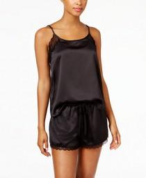 83e119254f Linea Donatella Linea Donatella Lace-Trimmed Satin Cami and Shorts Pajama  Set