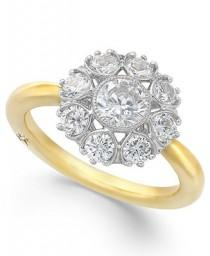 wedding photo - Marchesa Star by Marchesa Certified Diamond Engagement Ring in 18k Gold (1-1/3 ct. t.w.)