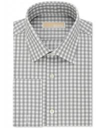 wedding photo - MICHAEL Michael Kors Men's Classic-Fit Non-Iron Grey Check French Cuff Dress Shirt