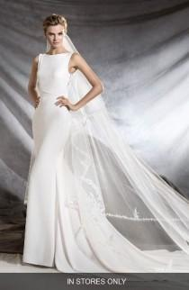 wedding photo - Pronovias Oliana Embroidered Crepe Mermaid Gown (In Stores Only)
