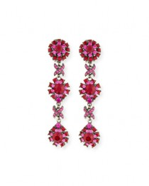 wedding photo - Linear Link Crystal Drop Earrings, Red