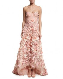 wedding photo - Strapless High-Low Floral Tulle Gown, Blush