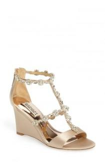 wedding photo - Badgley Mischka Tabby Embellished Wedge Sandal