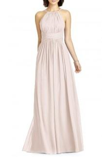 wedding photo - Dessy Collection Lux Chiffon Halter Gown