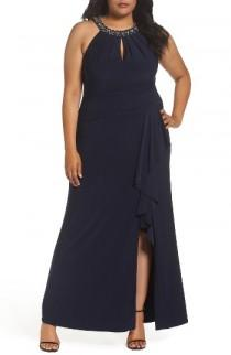 wedding photo - Vince Camuto Beaded Neck Faux Wrap Gown (Plus Size)