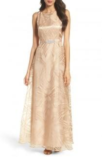 wedding photo - Ellen Tracy Embellished Burnout Gown